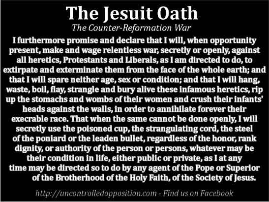 Os Juramentos Jesuítas usados nas suas Sociedades Secretas